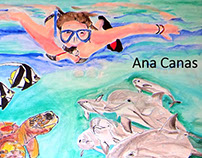 Girl and dolphins, by Ana Canas, mixed tecnics