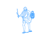 A man with lanterns and Jitte(a short metal truncheon)