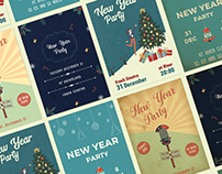 Vintage Style New Year Party Posters 2021