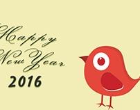 Stylish 2016 Happy New Year Greeting Card