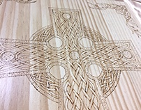 Celtic High Cross Wood Burned Wall Art