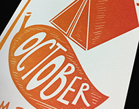 2018 Pyramid Atlantic Letterpress Calendar: October