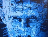 hellraiser pinhead spray paint on canvas art