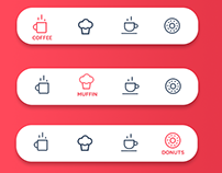 Coffee shop Web app Icon set for bottom navigation