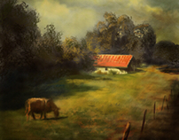 Landscape with cow and barn.