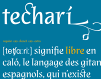 Techarí, custom typeface