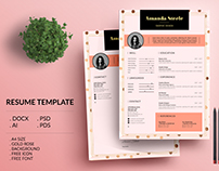 Gold Rose Resume Template / CV Template/ Letterhead