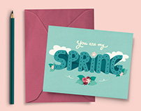 Illustrated lettering postcards