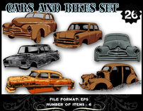Cars and Bikes Vector sets