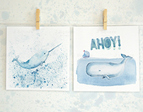 Under the Sea- whale art collection