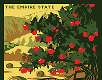 Upstate New York Vintage Style Travel Poster