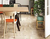 Scandinavian dining corner in colors #vitra