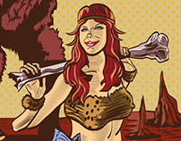 Ritu Oh Skateboard Deck: Cavewoman