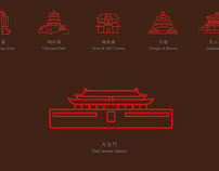 beijing tourism attraction landmarks icon
