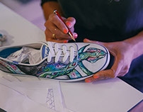 A day of customising shoes for Keds