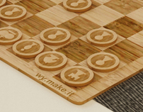 Laser cut bamboo chess set