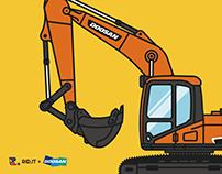 Doosan Infracore Heavy Equipment Illustration