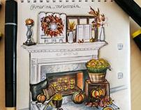 Interior sketch. Interior sketching. Эскиз интерьера