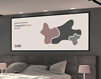 Free Modern Bed Room Framed Poster Mockup