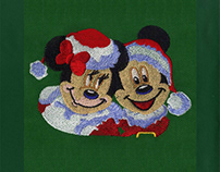 Mickey & Minnie Santa Jubilant Embroidery Design