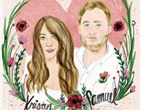 Kristen & Sam, Wedding Illustration