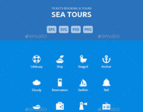 Sea Tours Booking & Trips - Vector Icons