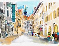 Dresden, Schlossstraße with Georgentor