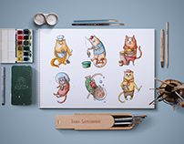 Cats and Professions - illustrations