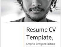 Resume CV Template, Graphic Designer Edition