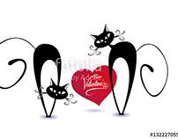 black cartoon cats with heart  - vector romantic