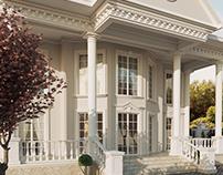 Оформление фасада в классическом стиле.