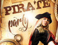Pirate Party Event Flyer, PSD Template