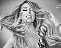 Mariah Carey Digital Oil Painting by Wayne Flint