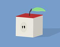 Cube apple   illustration & animation