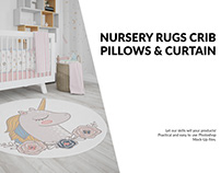 Nursery - 4 Rugs Pillows Curtain