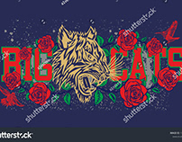 Big Cats tribal tiger with rose graphic design vector