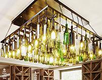 Tasting room restaurant with handcraft lamp