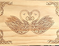 Celtic Twin Swans Wood Burned Wall Art