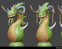 King Dragon zbrush chess stone 3d model