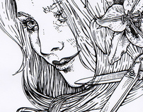 Illustration - Filles lys (stylo plume)