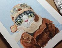 Watercolor cats 2