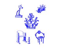 MEMPHIS Illustrations for Café Zena
