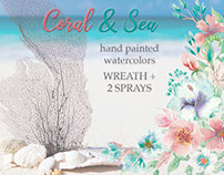 Watercolor wreath and 2 sprays: 'Coral and Sea'