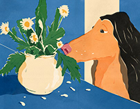 One dog and one vase with flowers
