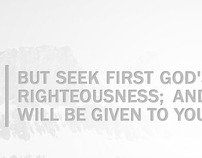 But seek first God's Kingdom