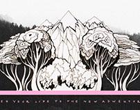 Trees and mountains series Illustration & photoart