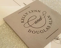 Kelly & Douglas Silver Glitter & Grey Wedding Invite