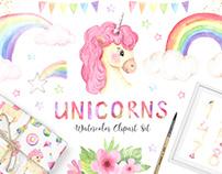 Watercolor Unicorns magic little princess Set Vol.2