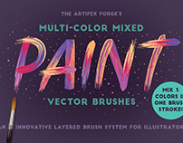 Multi-color Mixed Paint Vector Brushes