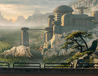Firuvell, the city in the valley - Matte painting